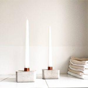Kerzenständer, Beton, Kupfer, Caja, Kerze, Urban, Dekoration, Urban Yards, Kerzenständer aus Beton